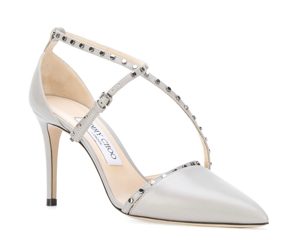 jimmy choo tiff studded leather strappy pumps