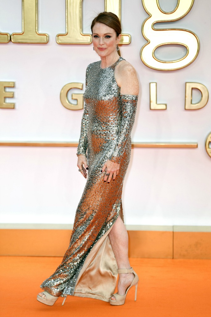 Julianne Moore in a Tom Ford gown with peep-toe heels