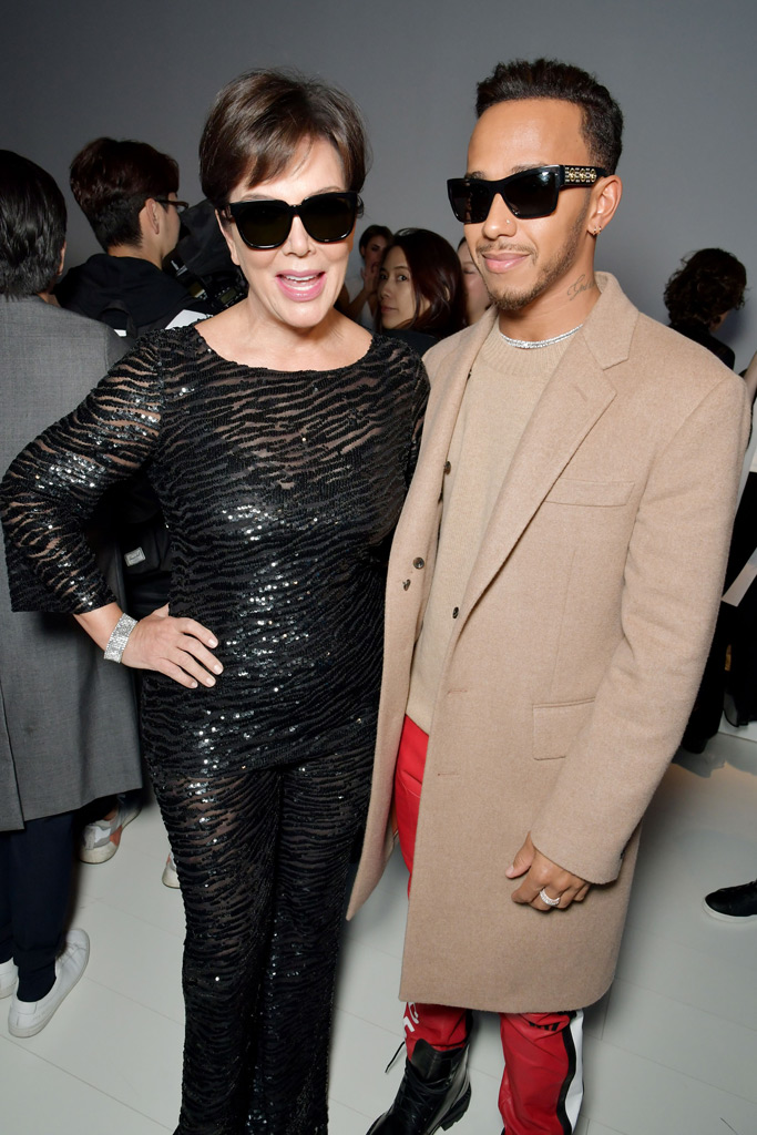 Kris Jenner and Lewis Hamilton front row at Versace Spring 2018