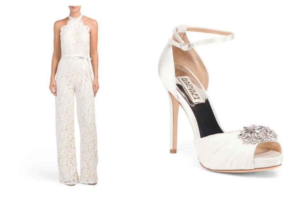 Lotus Threads Lace Halter Jumpsuit, Badgley Mischka Embellished Peep Toe Evening Shoes