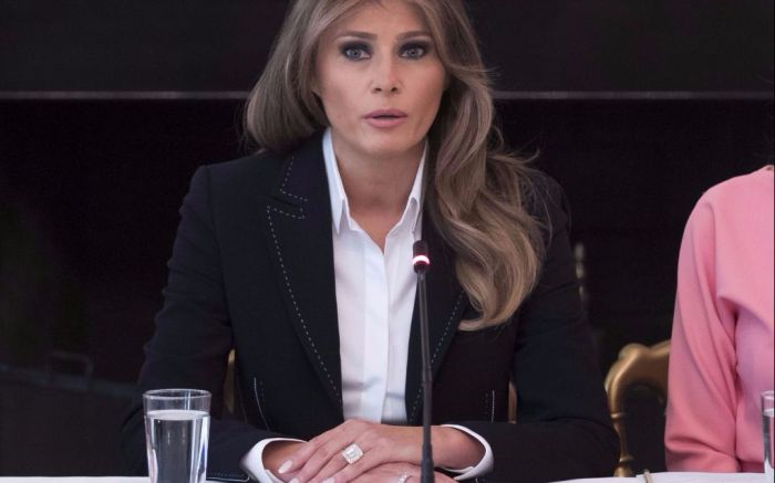 Melania Trump at an opioid abuse discussion in the White House