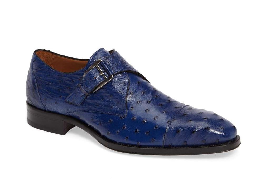 Melzan Cohen Ostrich Cap Toe Monk Shoe