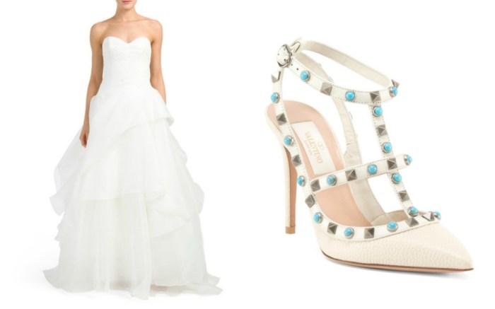 Nouvelle by Amsale gown and Valentino Garavani Rockstud pumps