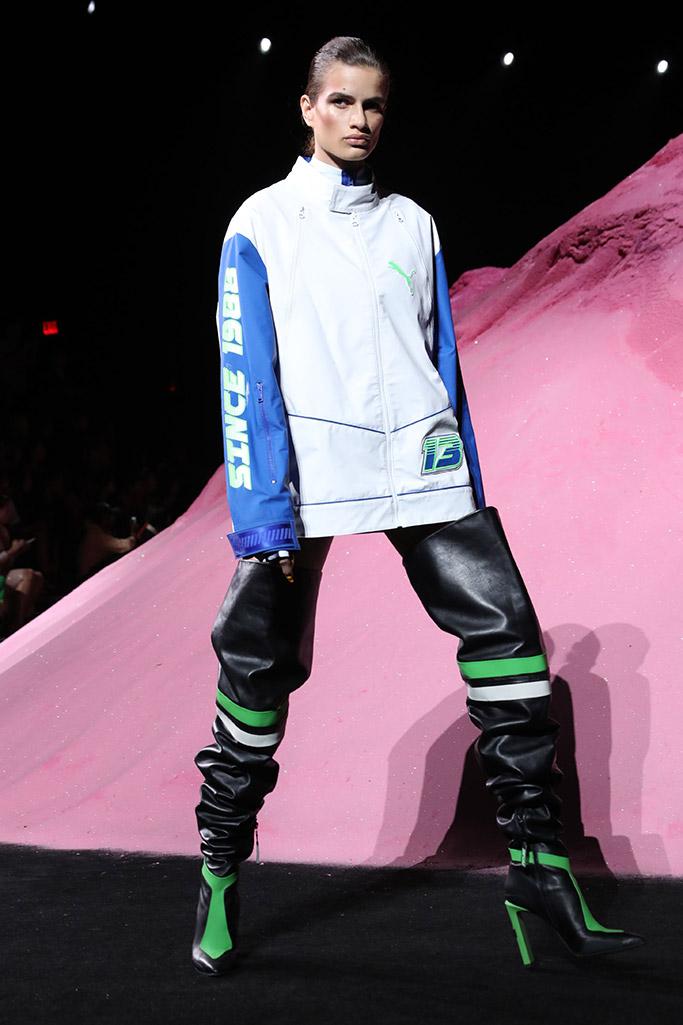 fenty puma, new york fashion week, crazy shoes, thigh high boots