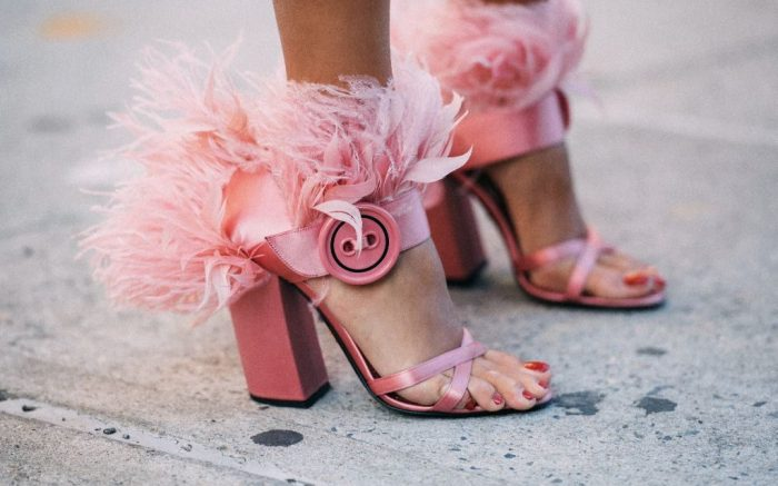 Prada feather embellished satin heels