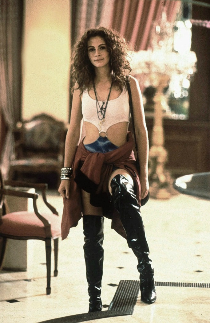 pretty woman, julia roberts, patent over-the-knee boots