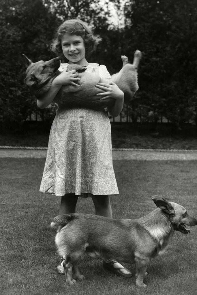 Queen Elizabeth II , corgis, child, young
