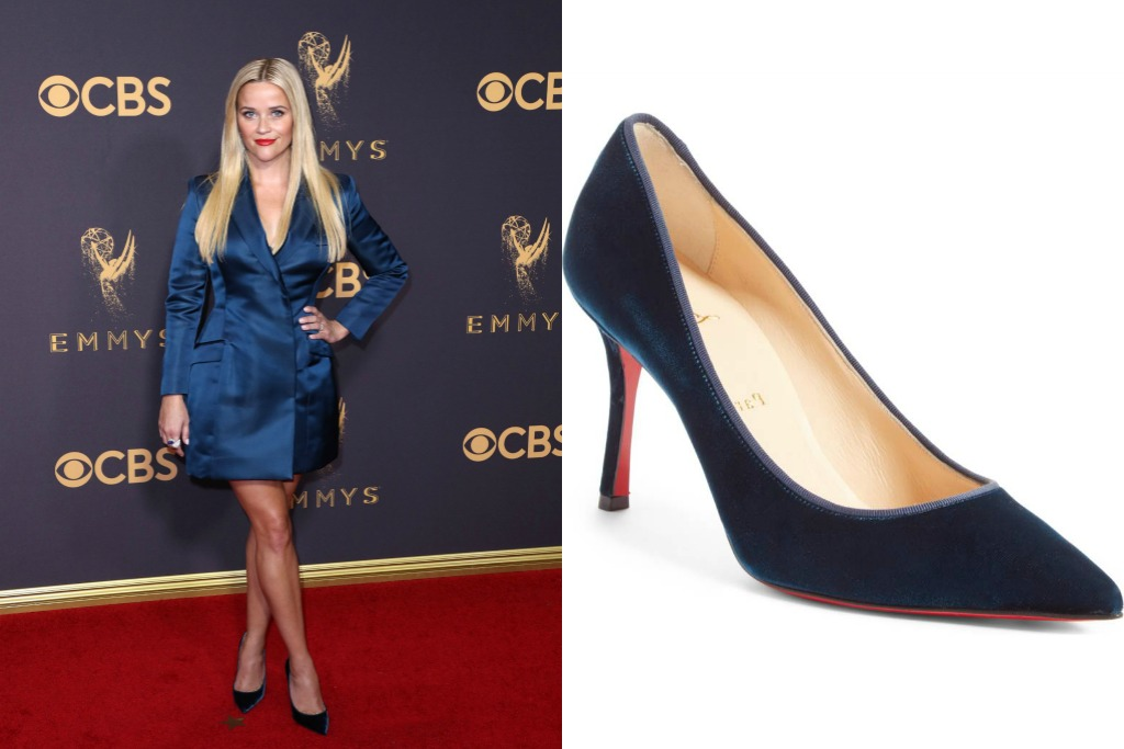 reese witherspoon wearing christian louboutin Decoltish Pointy Toe Pumps