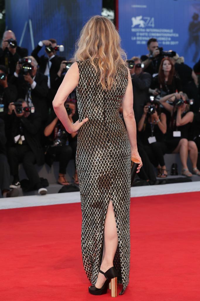 venice film festival, Michelle Pfeiffer, ferragamo, michael kors, gold-mirrored platforms