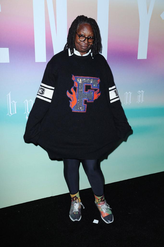 fenty puma nyfw spring '18 new york fashion week, whoopi goldberg