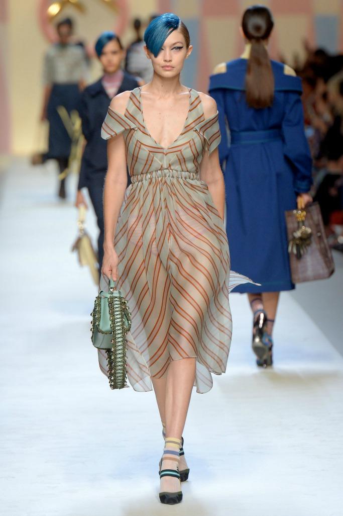 milan fashion week, gigi hadid, fendi ready to wear spring 2018