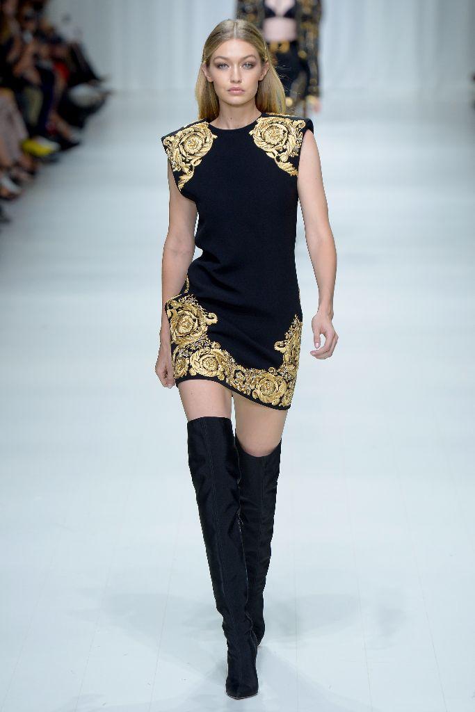 Gigi Hadid on the Versace spring 2018 runway at Milan Fashion Week.