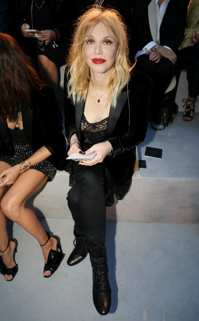 paris fashion week, courtney love, saint laurent spring 2018