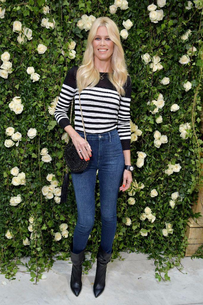 Claudia Schiffer, balmain spring 2018, paris fashion week, front row