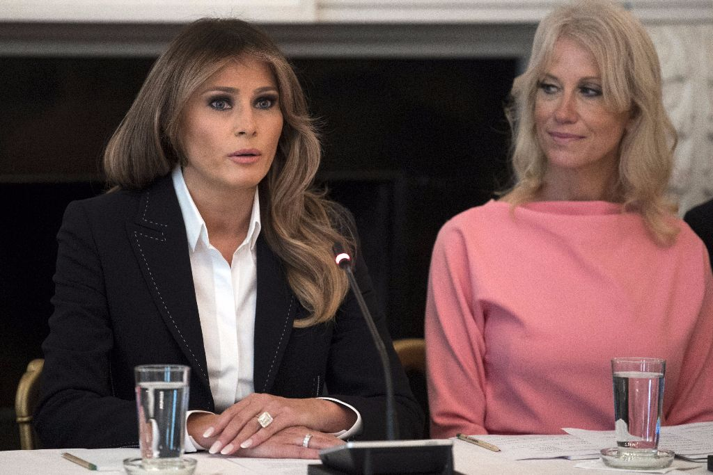 Melania Trump with Kellyanne Conway at opioid abuse discussion
