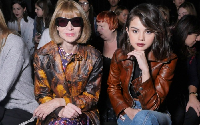 Selena Gomez sits with Anna Wintour in the front row of Coach at NYFW