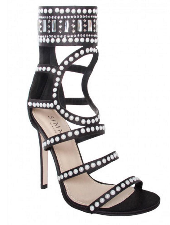 Simmi black satin gem strappy heels