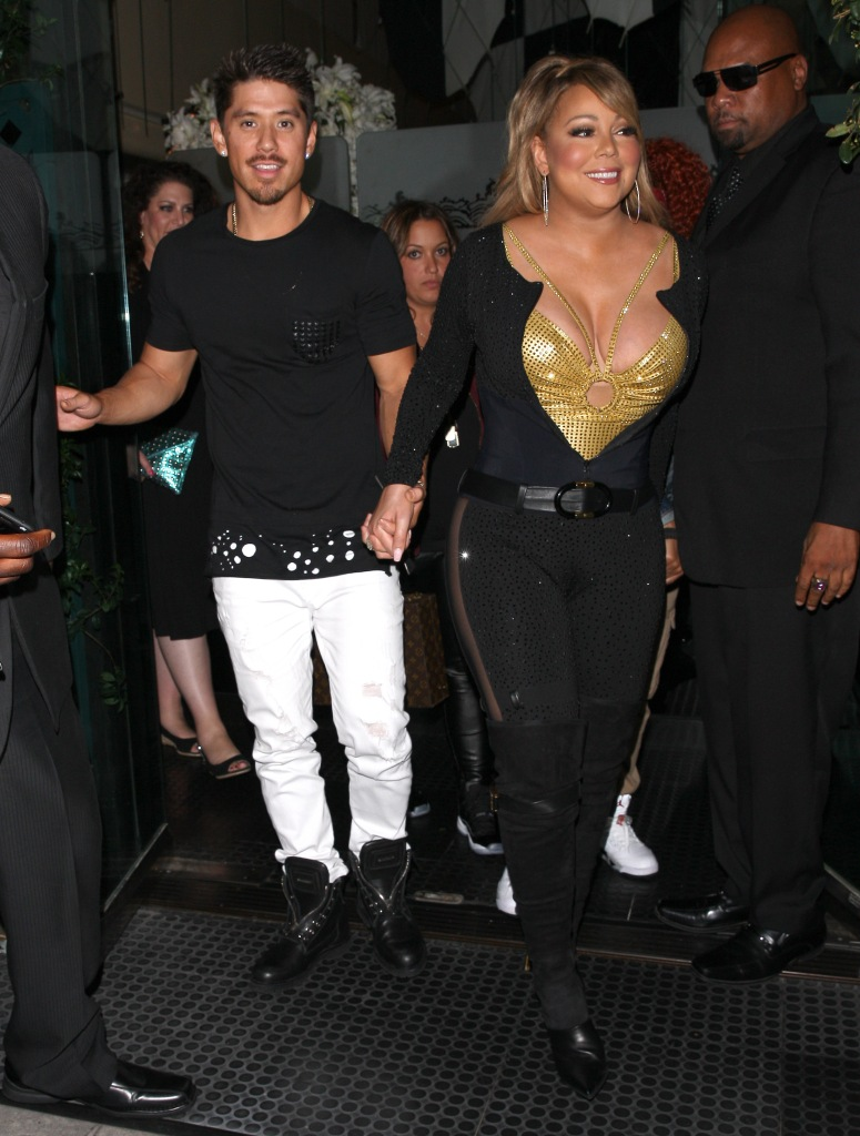 Mariah Carey with her boyfriend Brian Tanaka at Mr. Chow Restaurant in Beverly Hills, California.
