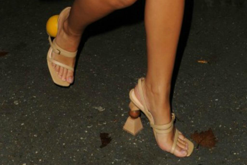 Emily Ratajkowski wearing architectural sandals