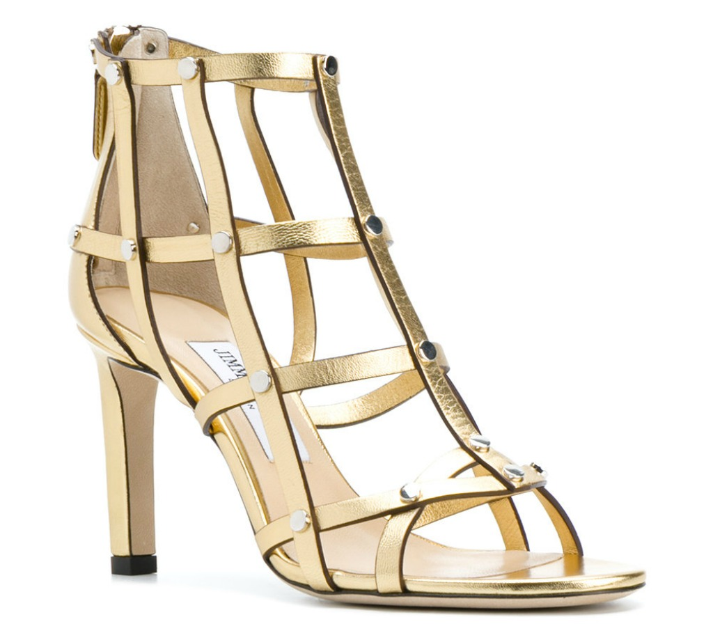 jimmy choo gold leather tina sandals