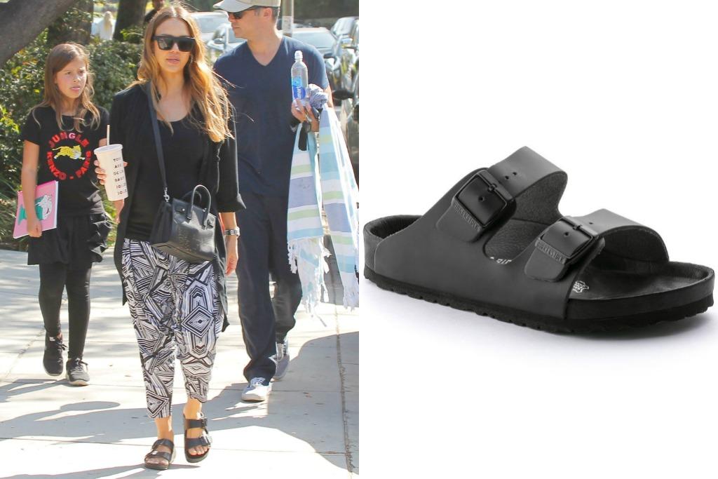jessica alba wearing Monterey black leather birkenstock sandals