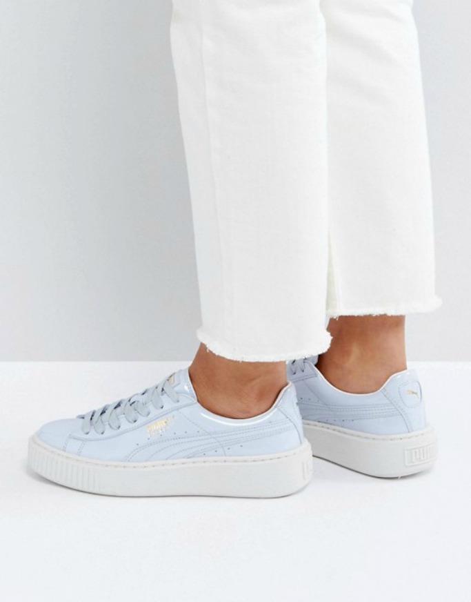 Puma Platform Sneakers In Blue Patent
