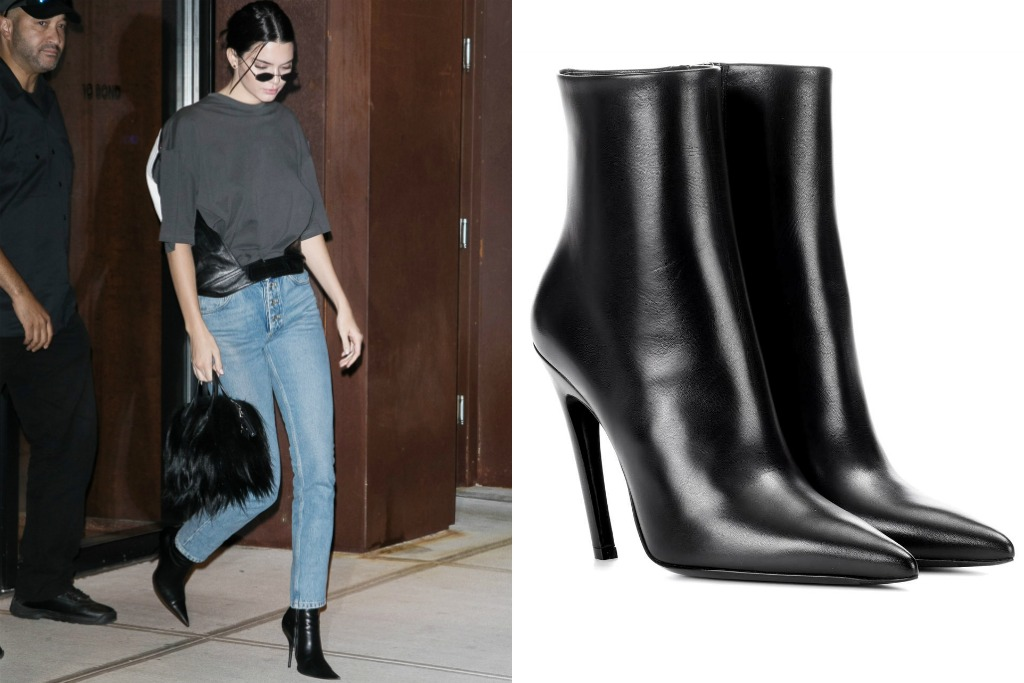 kendall jenner wearing Knife leather ankle boots
