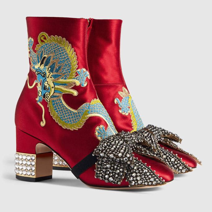 Gucci dragon boots crystal