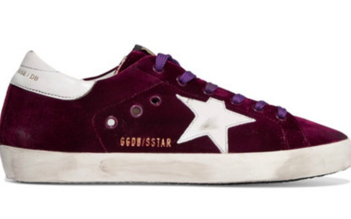 golden goose deluxe brand Super Star velvet and distressed leather sneakers
