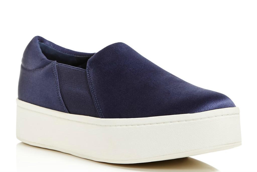 vince Warren Satin Slip-On Platform Sneakers