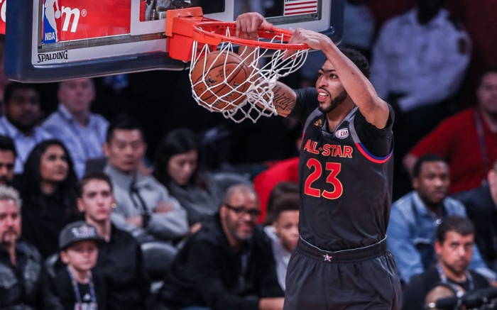Western Conference forward Anthony Davis (23) dunks the ball against the Eastern Conference during the NBA All-Star Game at the Smoothie King Center in New Orleans, LANBA All-Star Game, New Orleans, USA - 19 Feb 2017