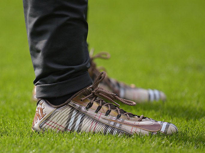 Burberry cleats at NFL London game