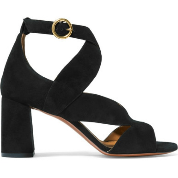 chloe Graphic Leaves suede sandals
