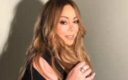 Mariah Carey wears all-black look.