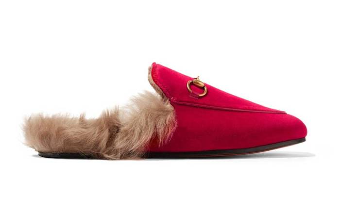 Gucci shearling lined Princetown mule.