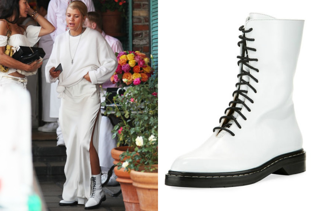 Sofia Richie wearing The Row Fara Lace-Up Leather Combat Boot