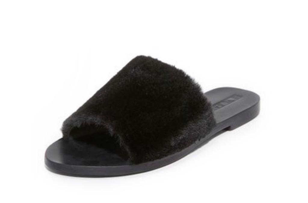 sol sana faux fur slides