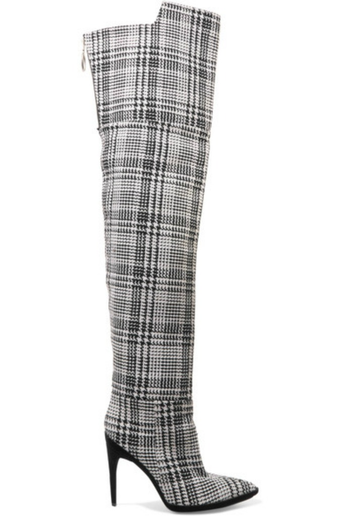 off-white Tartan textured-knit over-the-knee boots