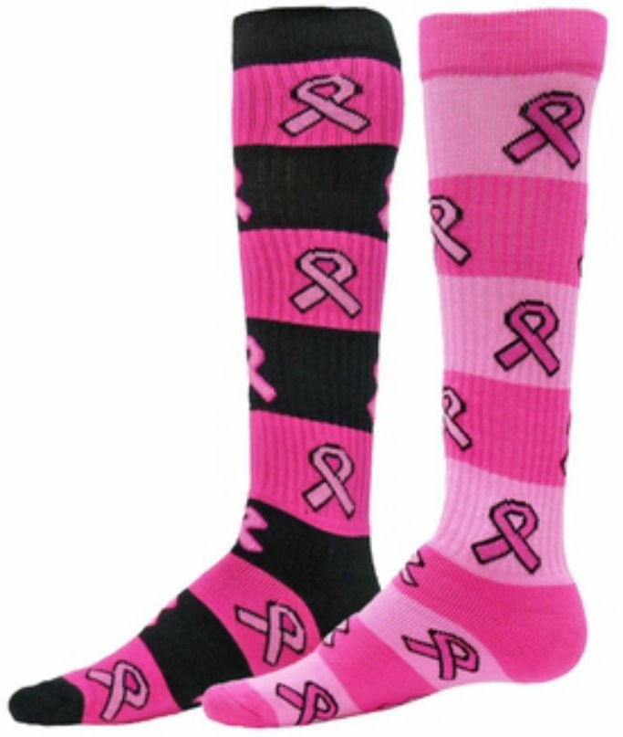 Pink Ribbon Breast Cancer Awareness Rugby Style Knee High Socks