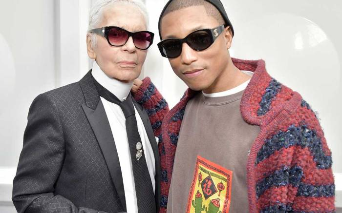 Karl Lagerfeld and Pharrell Williams backstage at Chanel