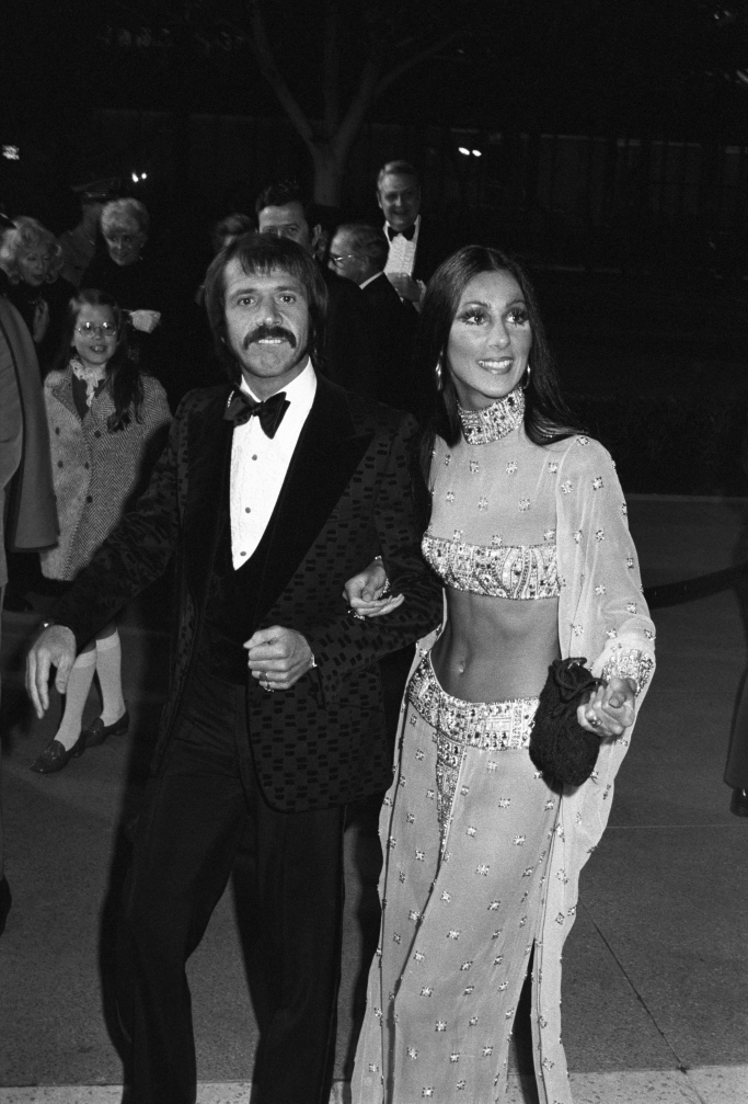 Sonny Bono and Cher at the 45th annual Academy Awards in 1973