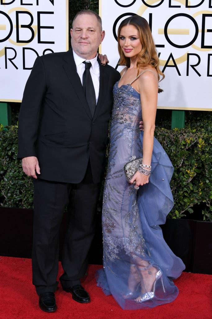 harvey weinstein and georgina chapman at the 2017 Golden Globe Awards