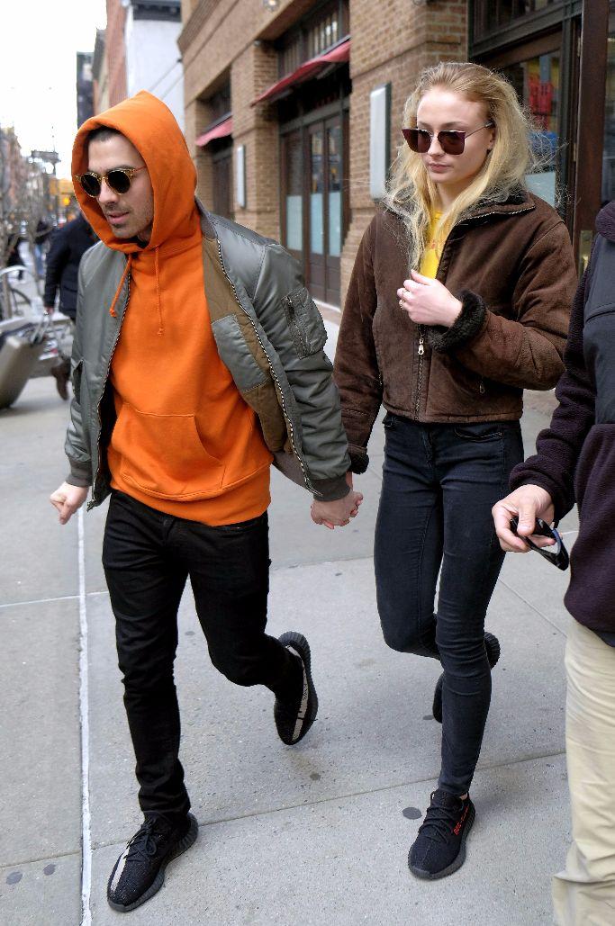 joe jonas and sophie turner wearing yeezy boosts
