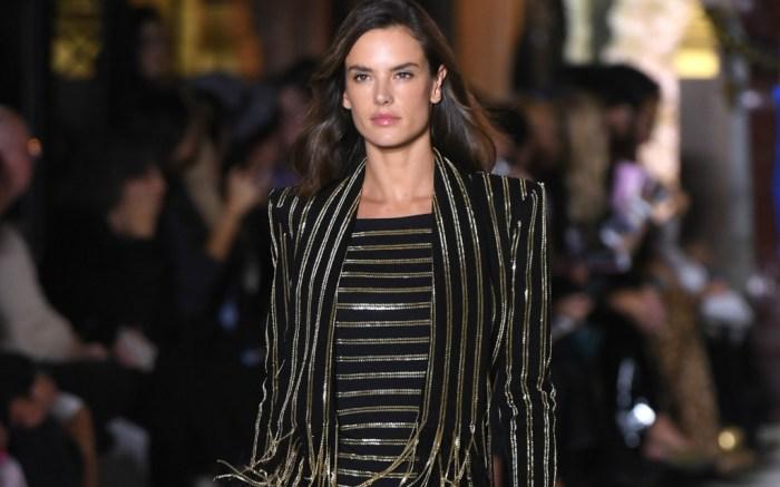Alessandra Ambrosio walking for Balmain spring 2018 at paris fashion week