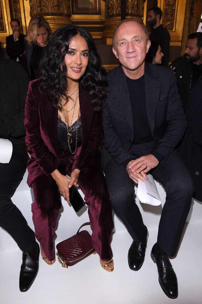Salma Hayek and Francois-Henri Pinault in the front row at Stella McCartney spring 2018