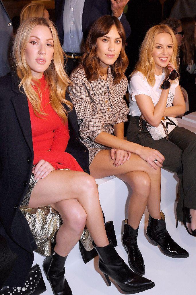 Ellie Goulding, Alexa Chung and Kylie Minogue sitting front row at stella mccartney spring 2018, paris fashion week