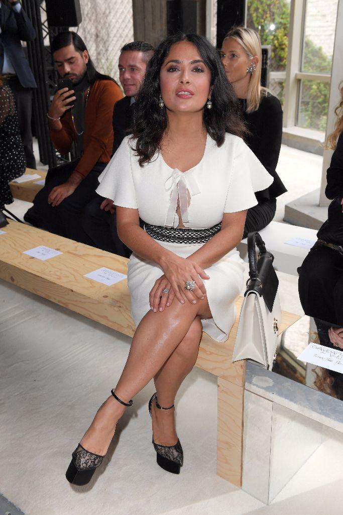 Salma Hayek sitting front row at the Giambattista Valli ready to wear 2018 show at paris fashion week