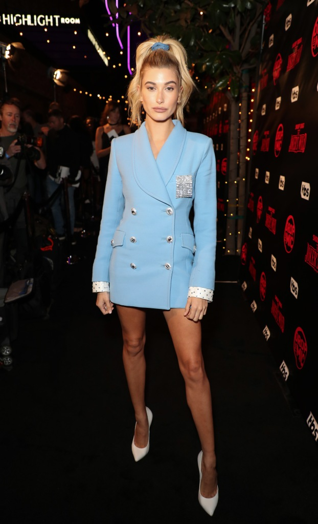 """Hailey Baldwin at the """"Drop The Mic and The Jokers Wild"""" premiere."""
