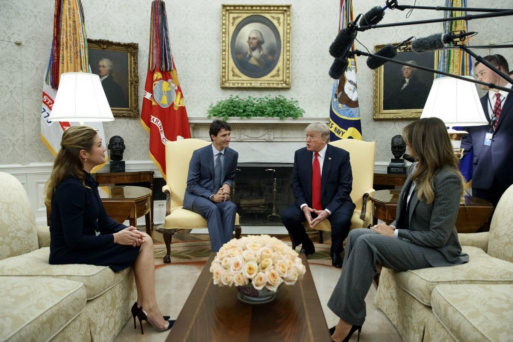 Donald Trump, Justin Trudeau, Melania Trump, Sophie Gregoire. President Donald Trump and first lady Melania Trump