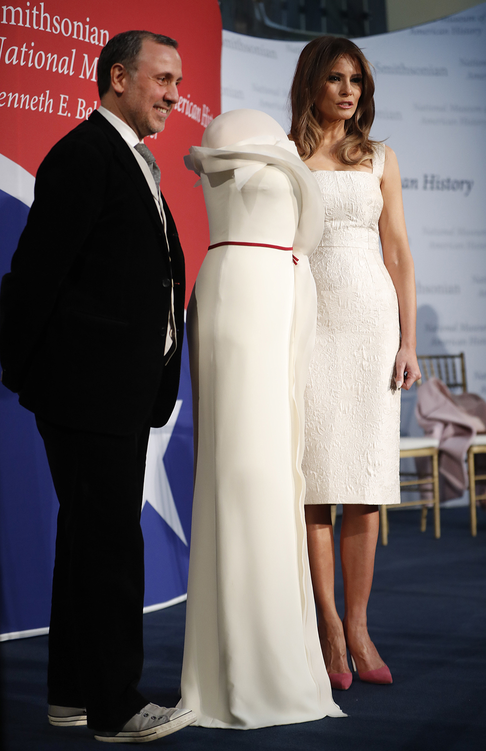 Melania Trump, Herve Pierre. First lady Melania Trump, right, donates her inaugural gown, designed by Herve Pierre, left, to the First Ladies' Collection at the Smithsonian's National Museum of American History, during a ceremony in WashingtonMelania Trump, Washington, USA - 20 Oct 2017